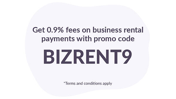 Get 0.9% fees on business rent payments with promo code BIZRENT9
