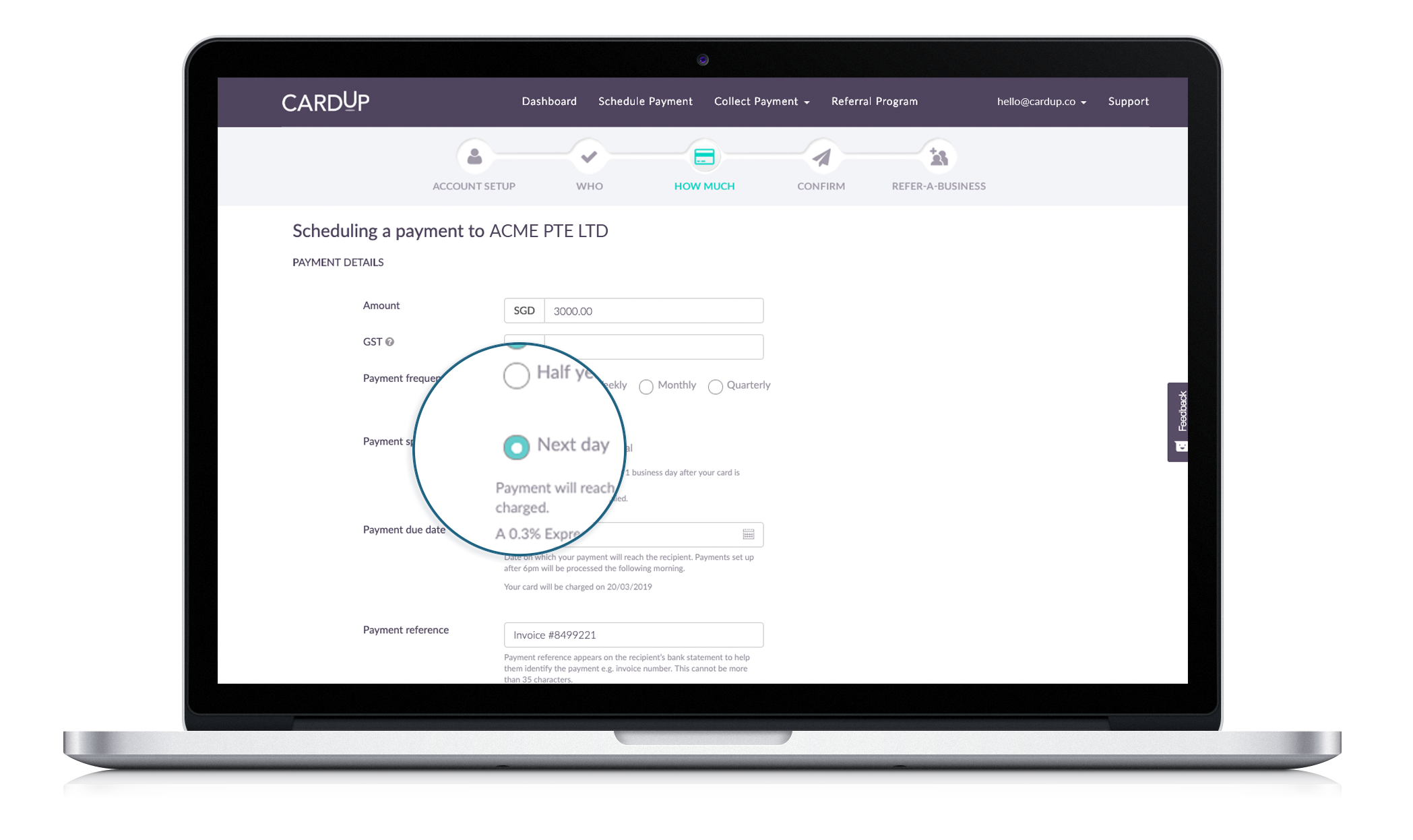 How to schedule next day payments on CardUp