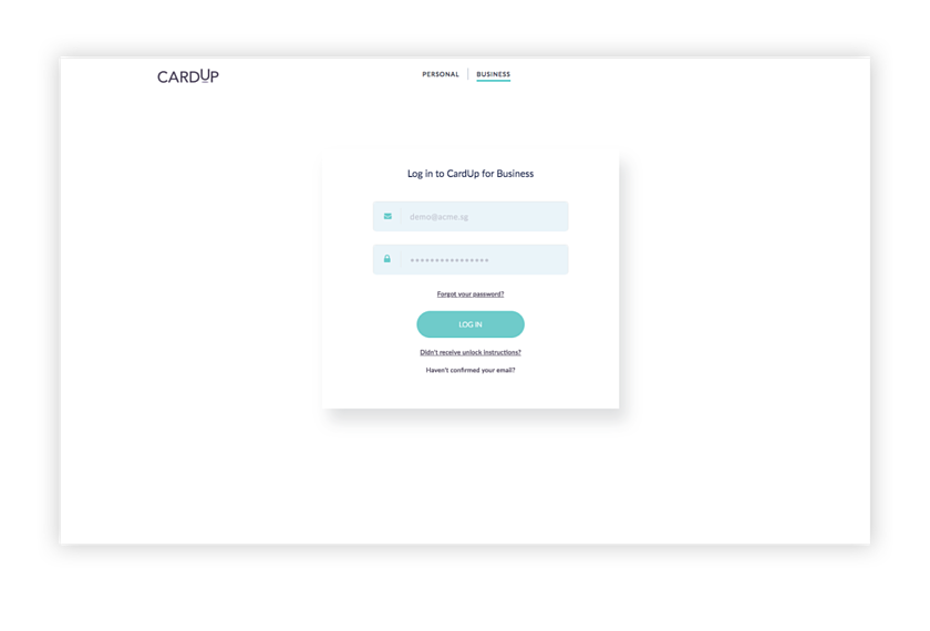 Step 1: Log in to CardUp to make salary payments to your employees with your credit cards