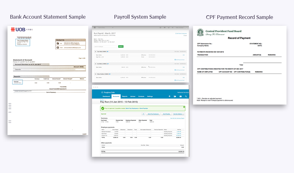 Documents you'll need: Bank Account Statement, Payroll System, CPF Payment Records