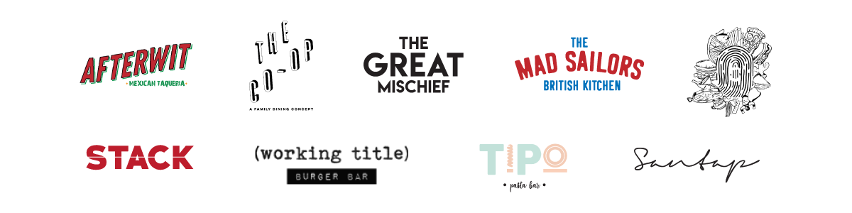 The Black Hole Group: Afterwit Bar de Burrito, The Co-Op, The Great Mischief, The Mad Sailors British Kitchen, The Black Hole Caters, Stack, Working Title Burger Bar, Tipo Pasta Bar, Santap