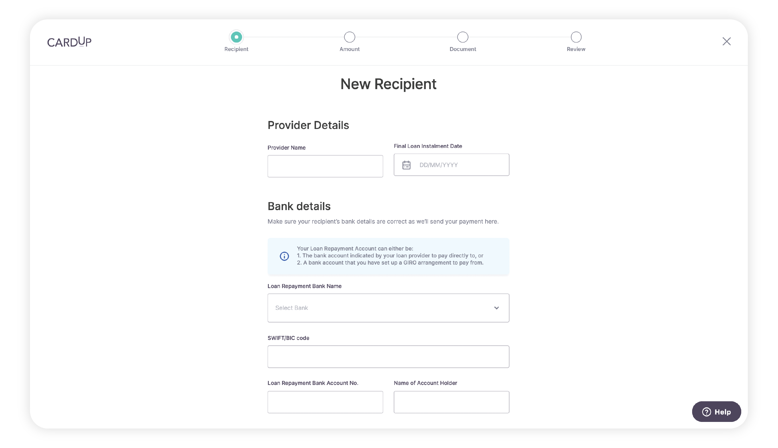 Enter the recipient bank details for the Loan Repayment Account