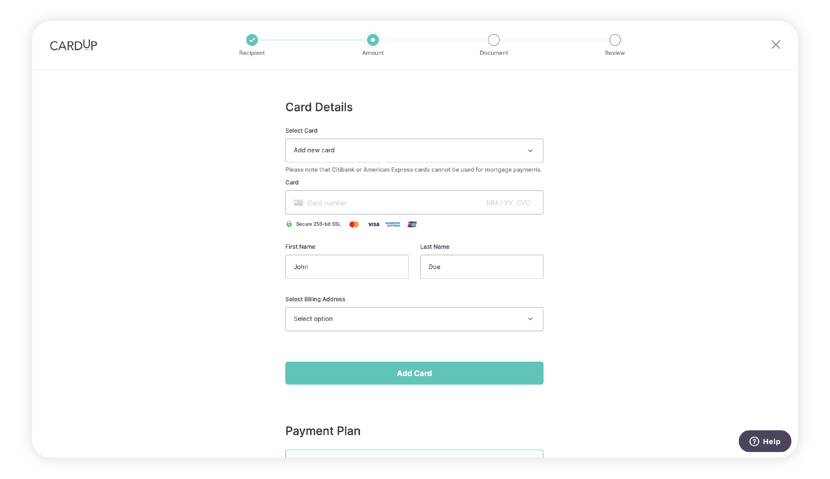 Select or add a new credit card